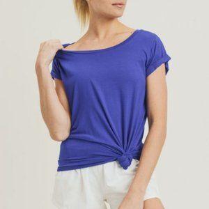 Round Neck Cap Sleeve Shirt